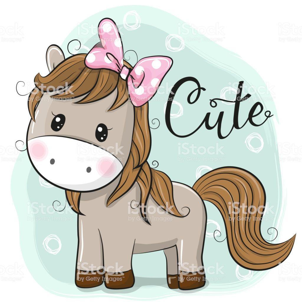 Cute Horse Girl Isolated On A Blue Background Horse Cartoon Cute Drawings Cute Horses