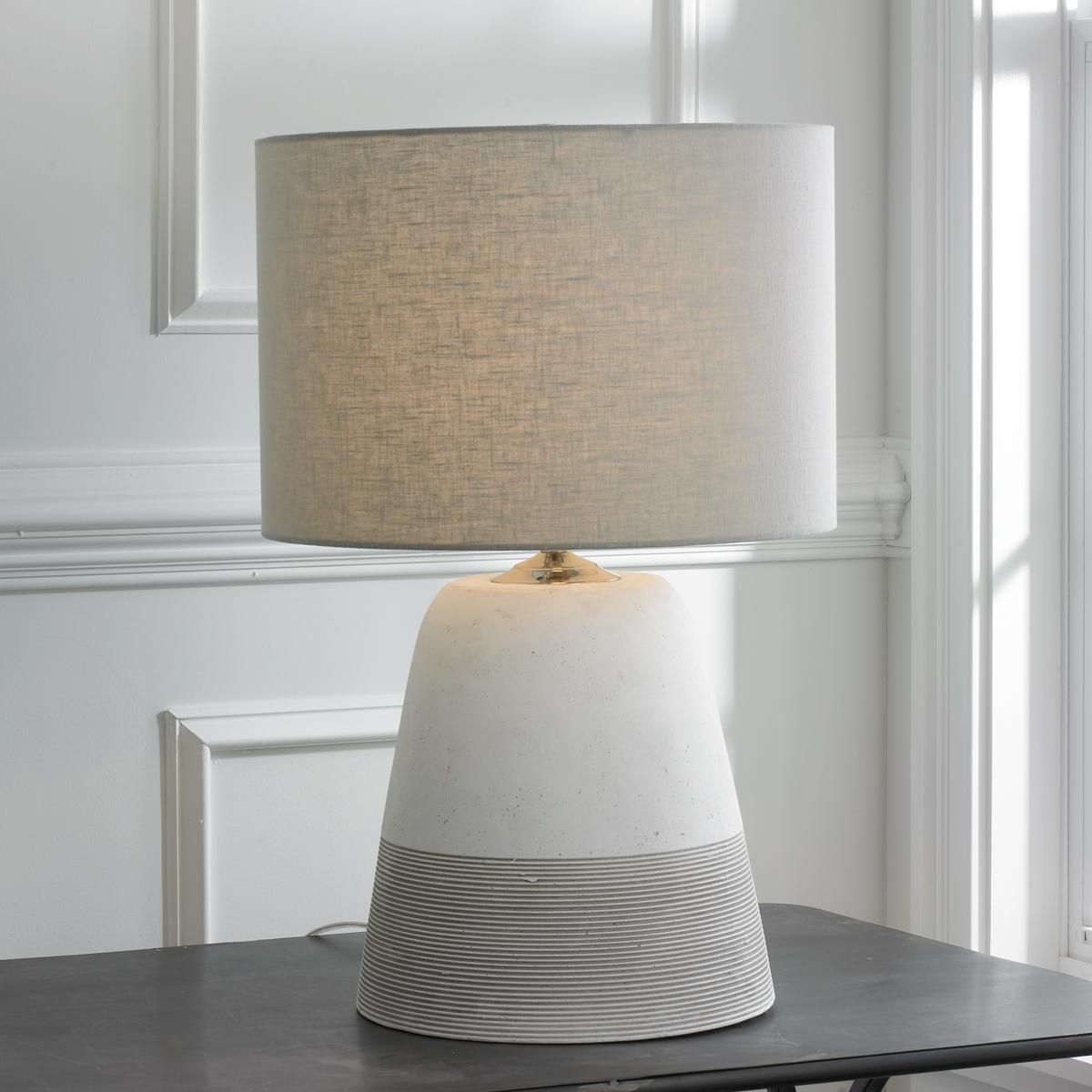 Grooved Concrete Table Lamp Small Concrete Table Lamp Contemporary Table Lamps Table Lamp Design
