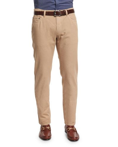 Five-Pocket Cotton Pants, Sand