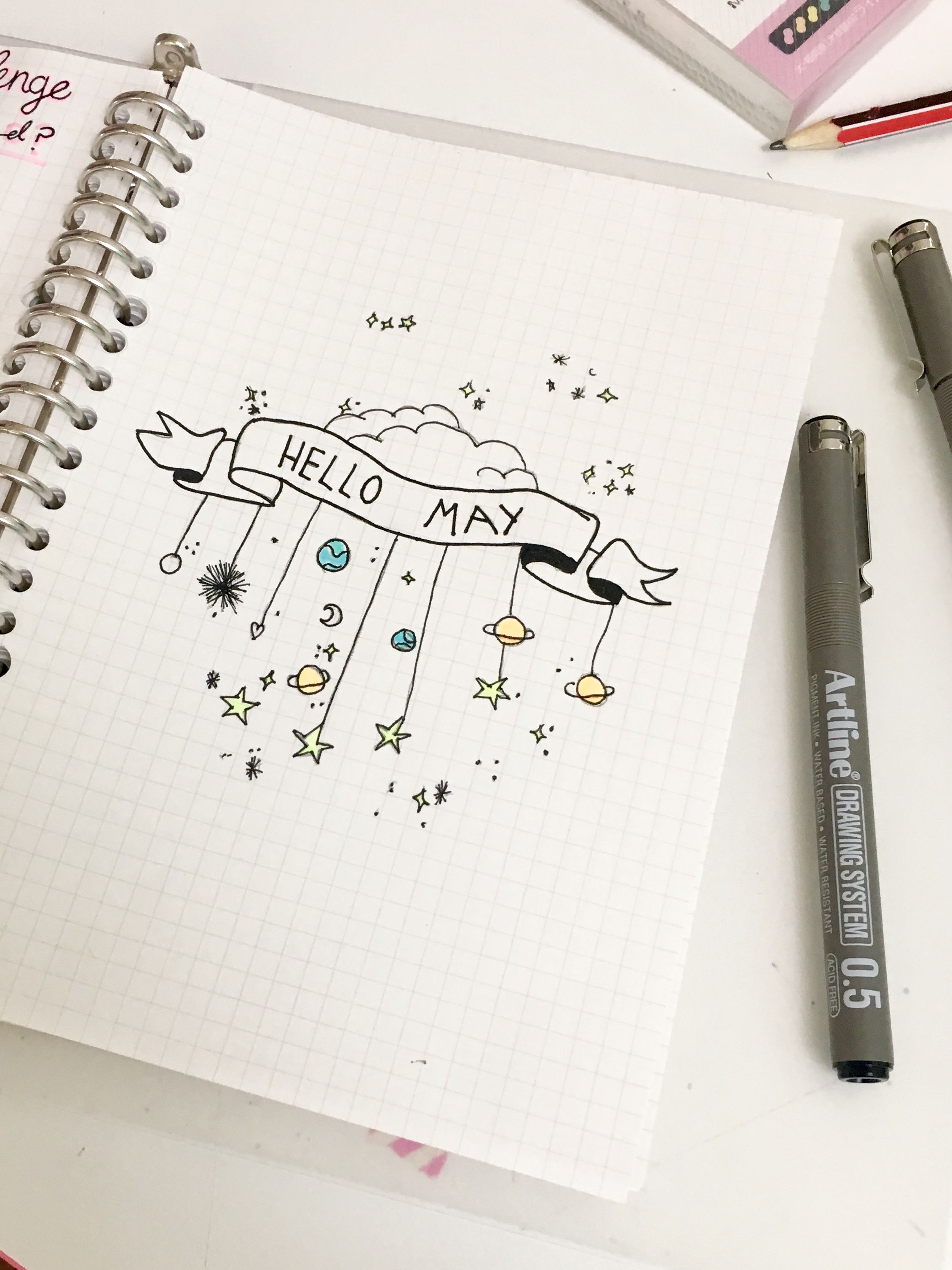 May Title Page Space/Galaxy Theme Hello May Bullet Journal ...