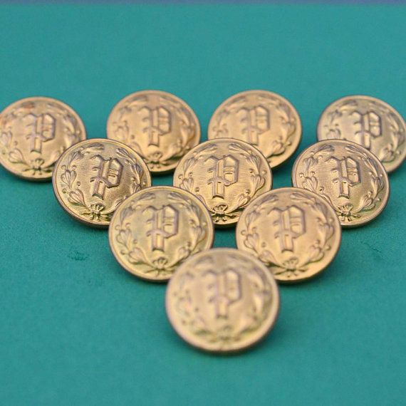 Brass Police Department Brass Buttons with Laurel Wreath - Waterbury