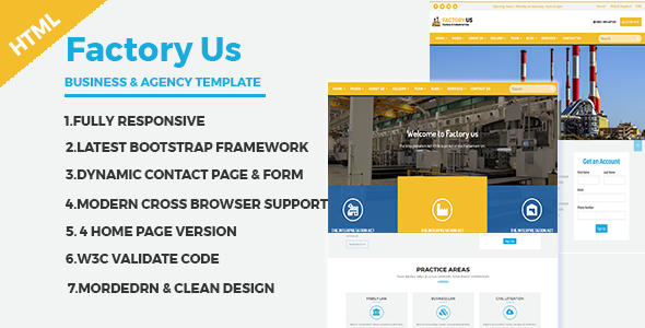 Factory Us  Industrial Business Html Template  Website