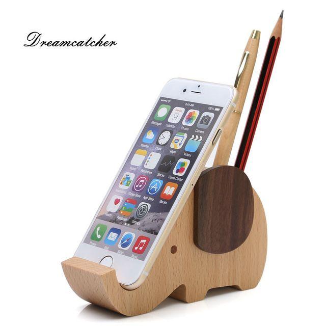Solid Wooden Multifunctional Elephant Design Mobile Phone Holder