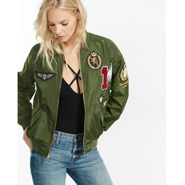 338475412 Express Olive Bomber Jacket With Graphic Patches ($98) ❤ liked on ...