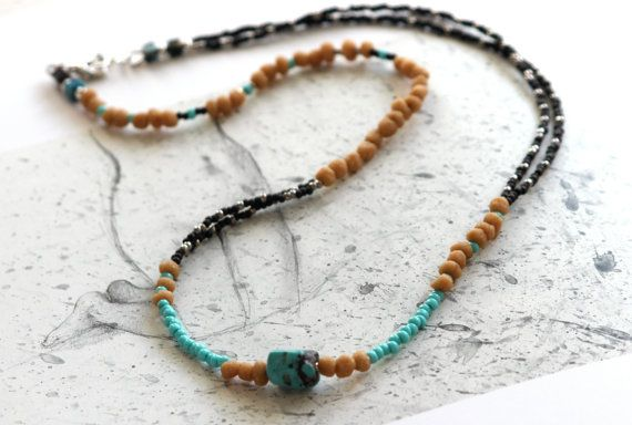 Turquoise Necklace Tribal Necklace Brown and by bellacornicello, $48.00