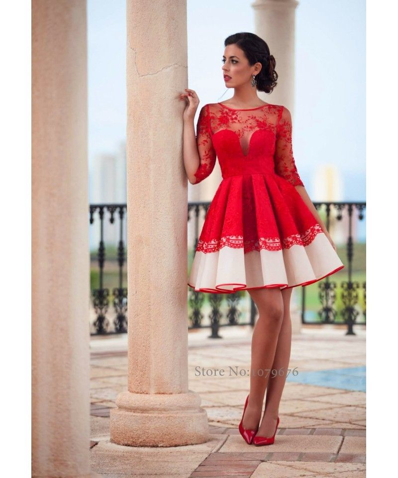 Aliexpress.com Comprar Transparente 2016 Rojo Vestido de Cóctel Corto  Vestidos de Fiesta Con Mangas Elegante de Encaje de Organza Vestidos de  Baile Para f5d4c738e1ad