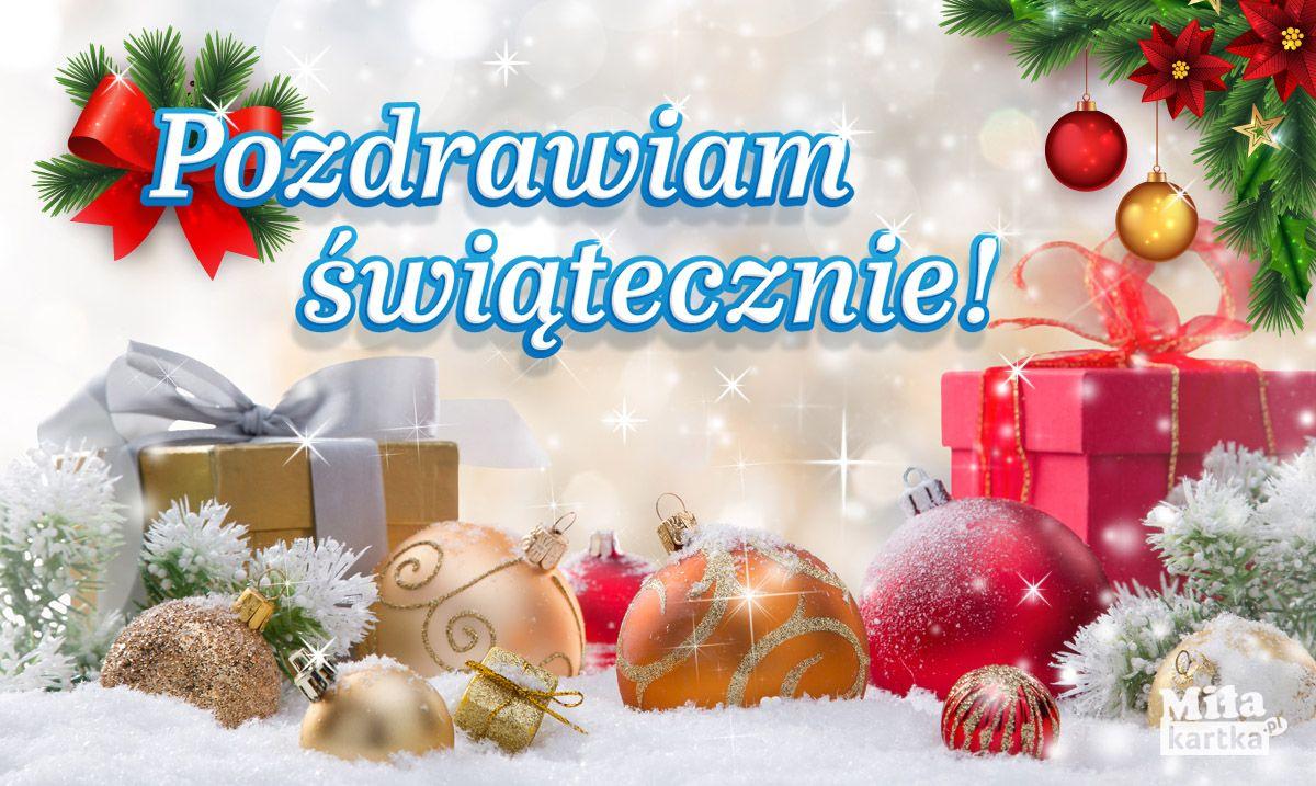 Kartka Pozdrawiam Swiatecznie Boze Narodzenie Sylwester