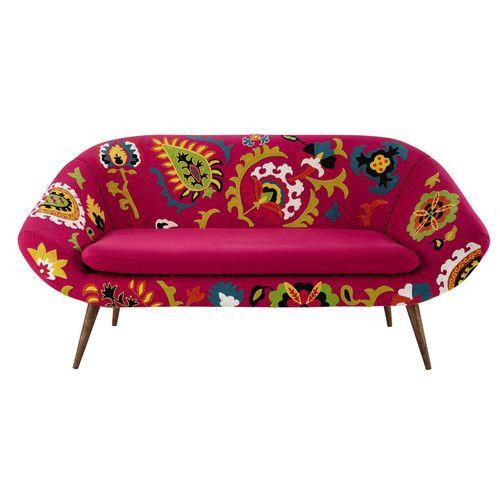 Divanetto ricamato rosa in cotone 2/3 posti | mobili | Pinterest