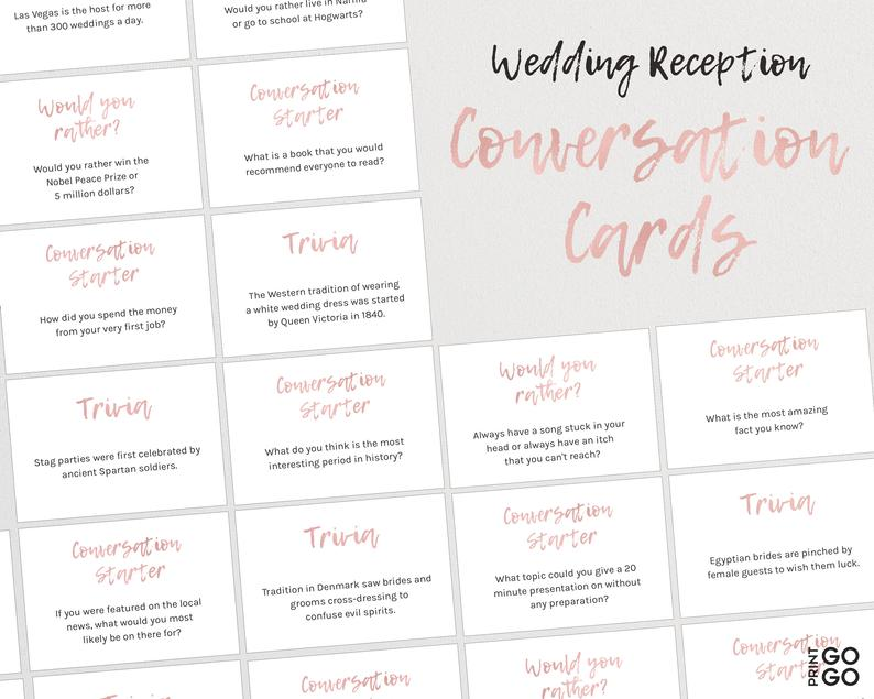 WEDDING TABLE GUEST GAME TRIVIA CARDS ICE BREAKER GAME