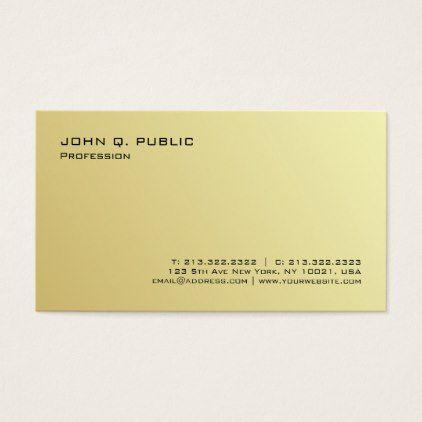 Plain Professional Modern Gold Signature Uv Matte Business Card