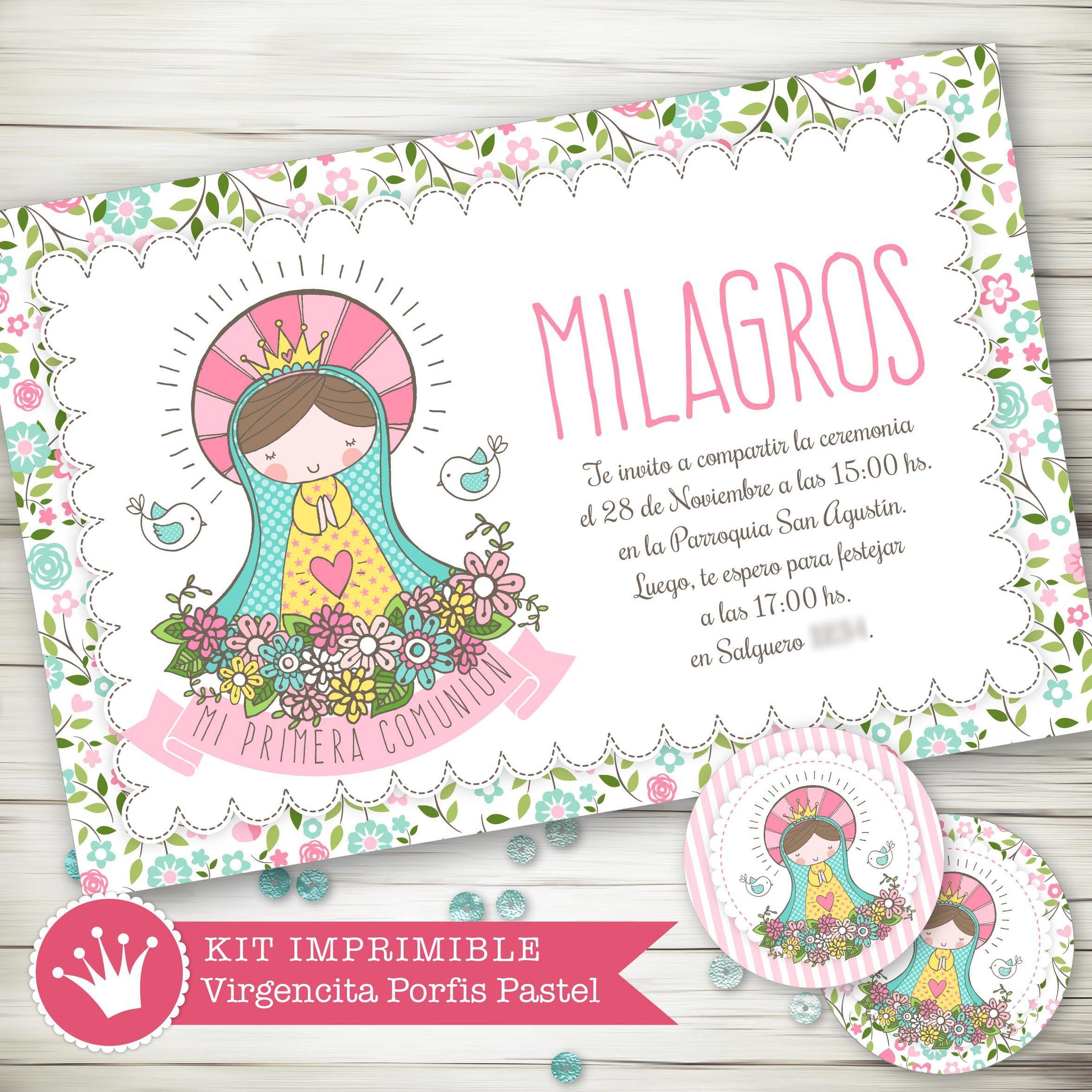 5fd87da8579 ... invitaciones niño niña gemelos. Source · Kit imprimible digital  virgencita porfis