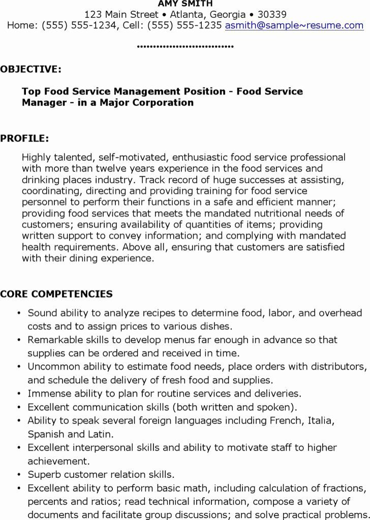 Food service manager resume best of food service resume