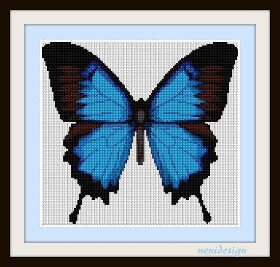 Cross Stitch Pattern Blue Butterfly Instant By Nenidesign 3 50