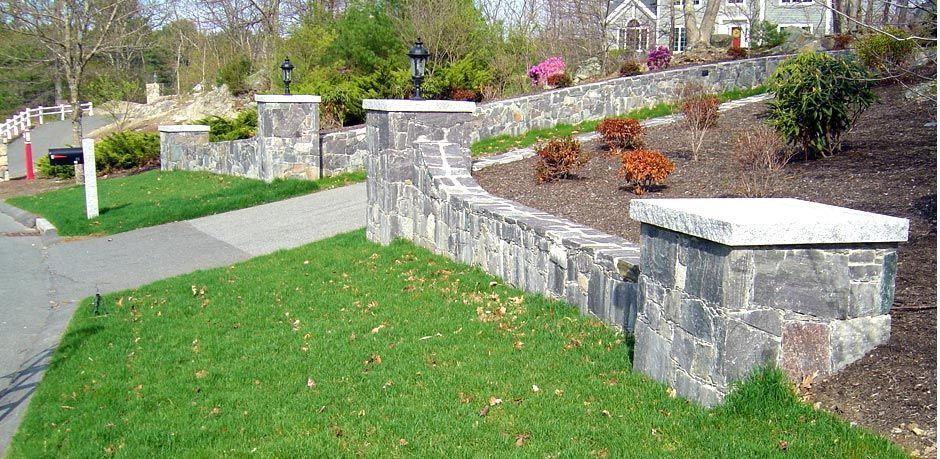 Corinthian Granite Stone Walls And Pillars Flanking A Driveway Entrance Driveway Entrance Landscaping Driveway Entrance Stone Driveway