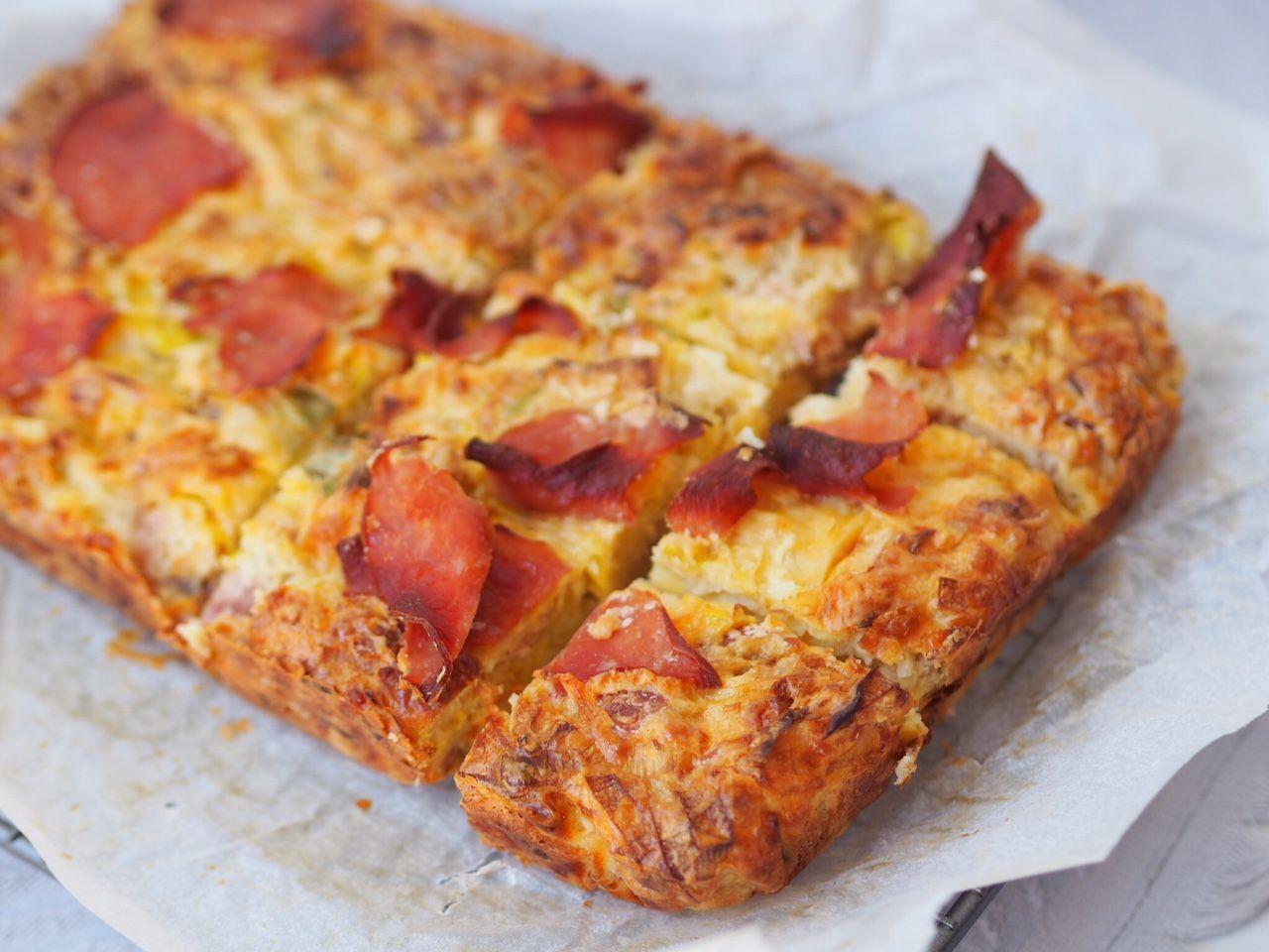 Gluten Free Leek And Ham Slice Leeks Cooking Ingredients Baked