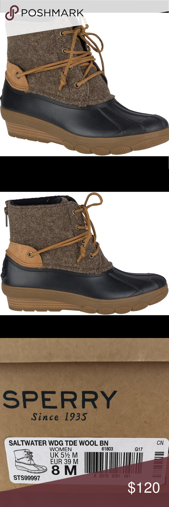 f0e1c9a48bac Sperry Women s Saltwater Wedge Tide Wool Boots Brand New in Box Saltwater  Wedge Tide Wool Boots for women. Size 8. Memory foam cushioning and micro  fleece ...