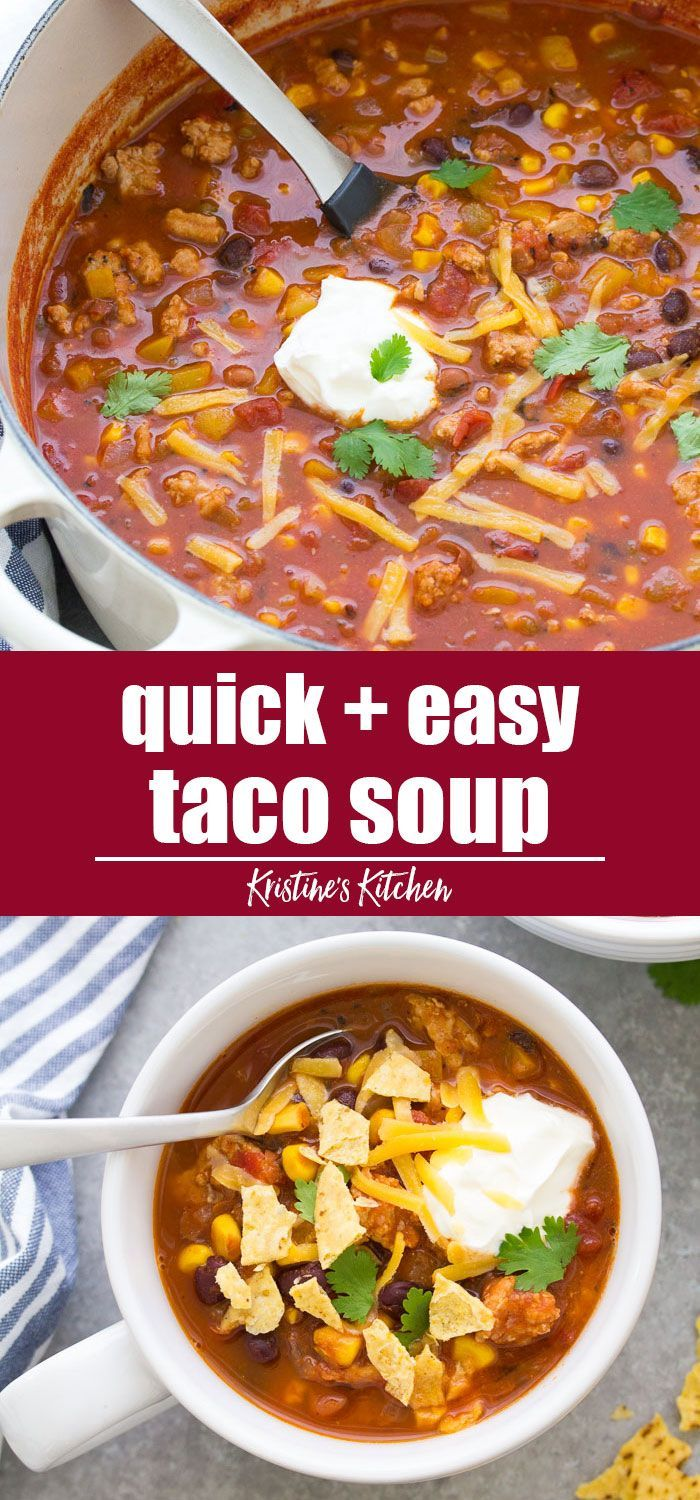 The best taco soup made with simple ingredients, including ground turkey (or beef) and black beans. This healthy taco soup recipe is quick and easy to make on the stove top. One pot, 30 minute meal, perfect weeknight dinner! #tacosoup #souprecipes #30minutemeal #groundturkeytacos
