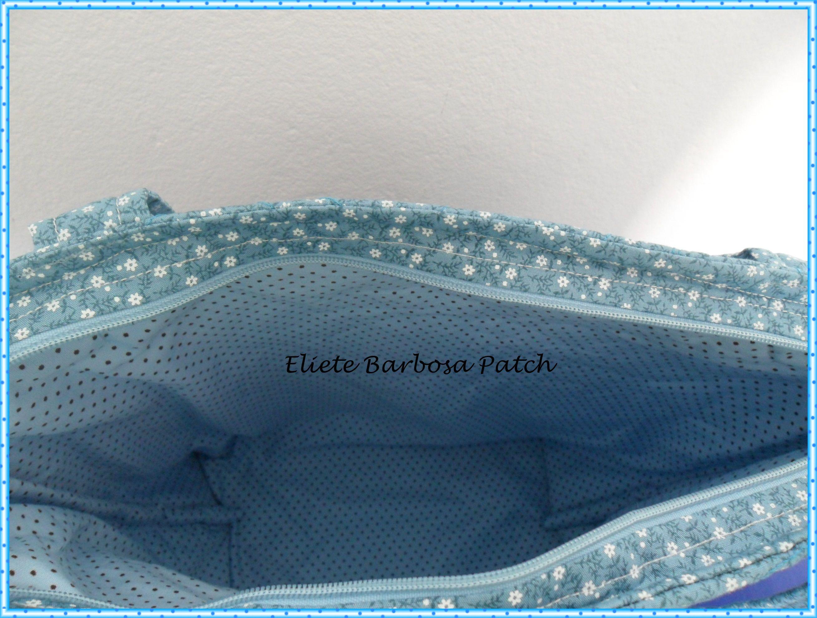 Bolsa Azul em patchwork - Interna