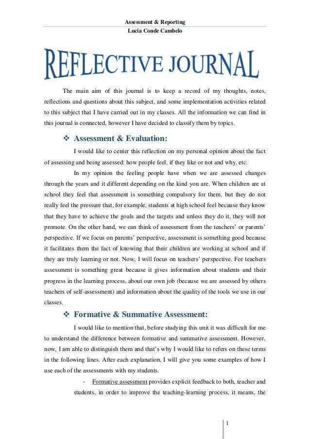 Reflective Journal Unit 1 Reflective Essay Examples Self Reflection Essay Reflective Journal
