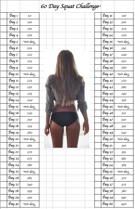 Squat Challenge 60 Days H E A L T H N U T Workout Challenge