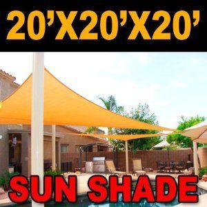 Big 20 X20 X20 Oversized Triangle Garden Patio Sun Sail Shade 20 Ft