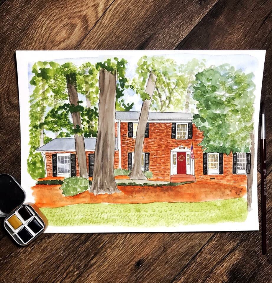 Custom Watercolor House Painting Watercolor House Portrait