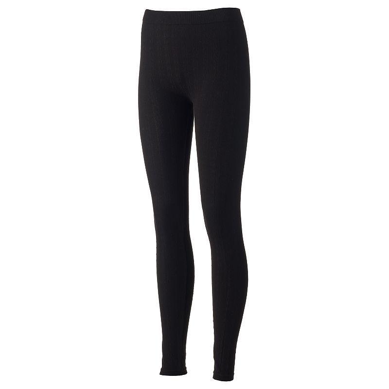 d081fa5c0c2809 Juniors' Pink Republic Cable-Knit Leggings, Girl's, Size: Medium, Black