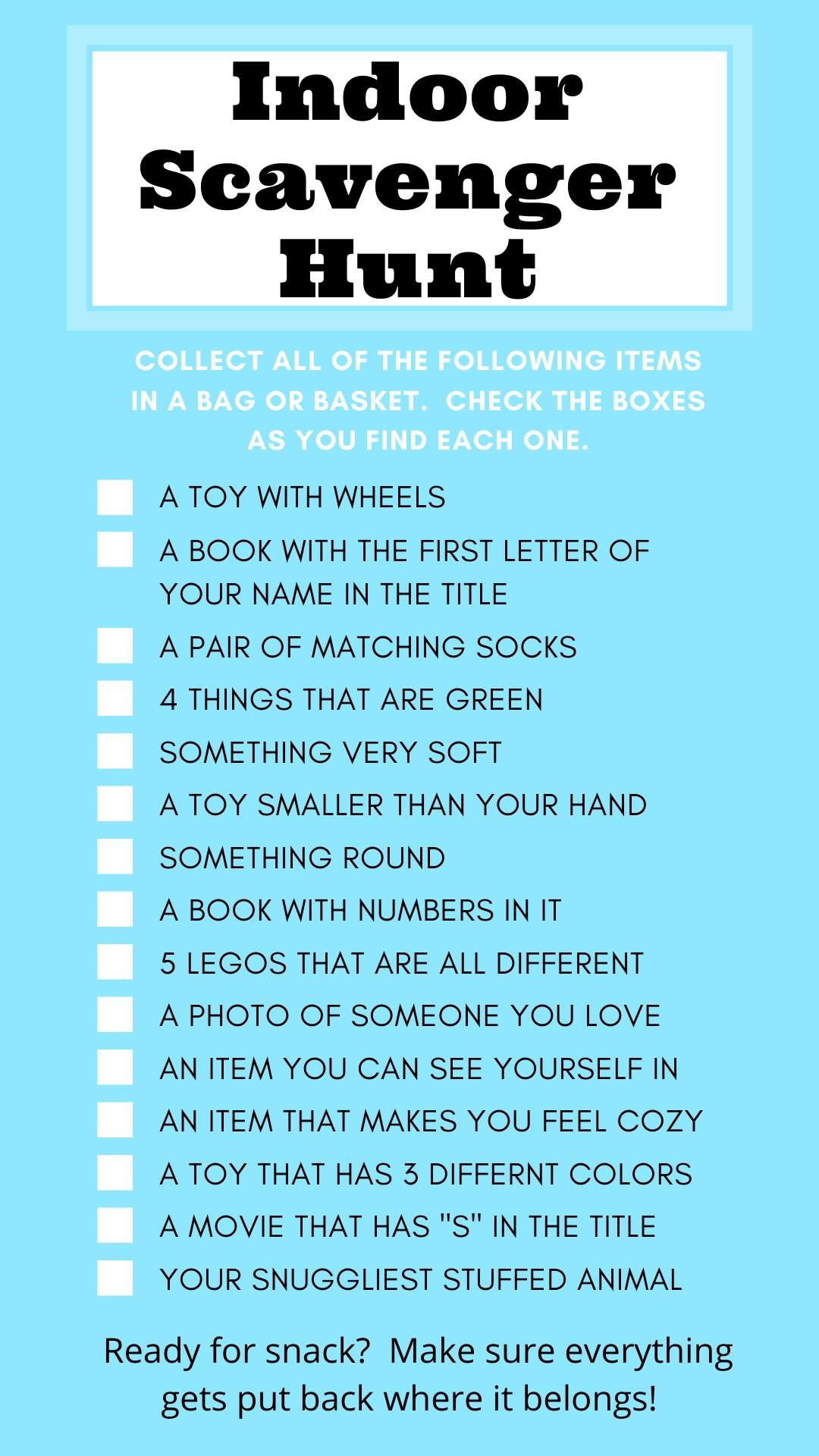 Indoor Scavenger Hunt in 2020 Indoor activities for kids