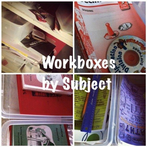 Minimalist Homeschool Room: Homeschool Workboxes: Reorganization By Subject