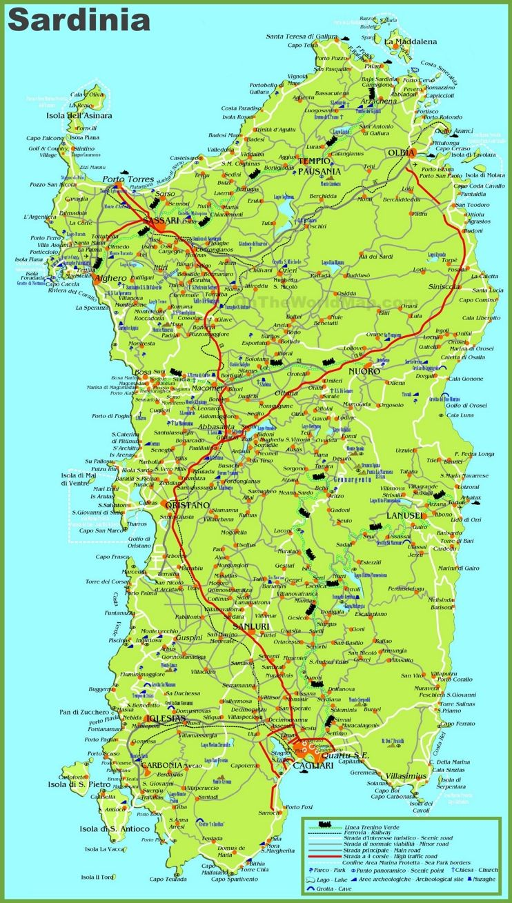 Large detailed map of Sardinia with cities towns and roads Maps