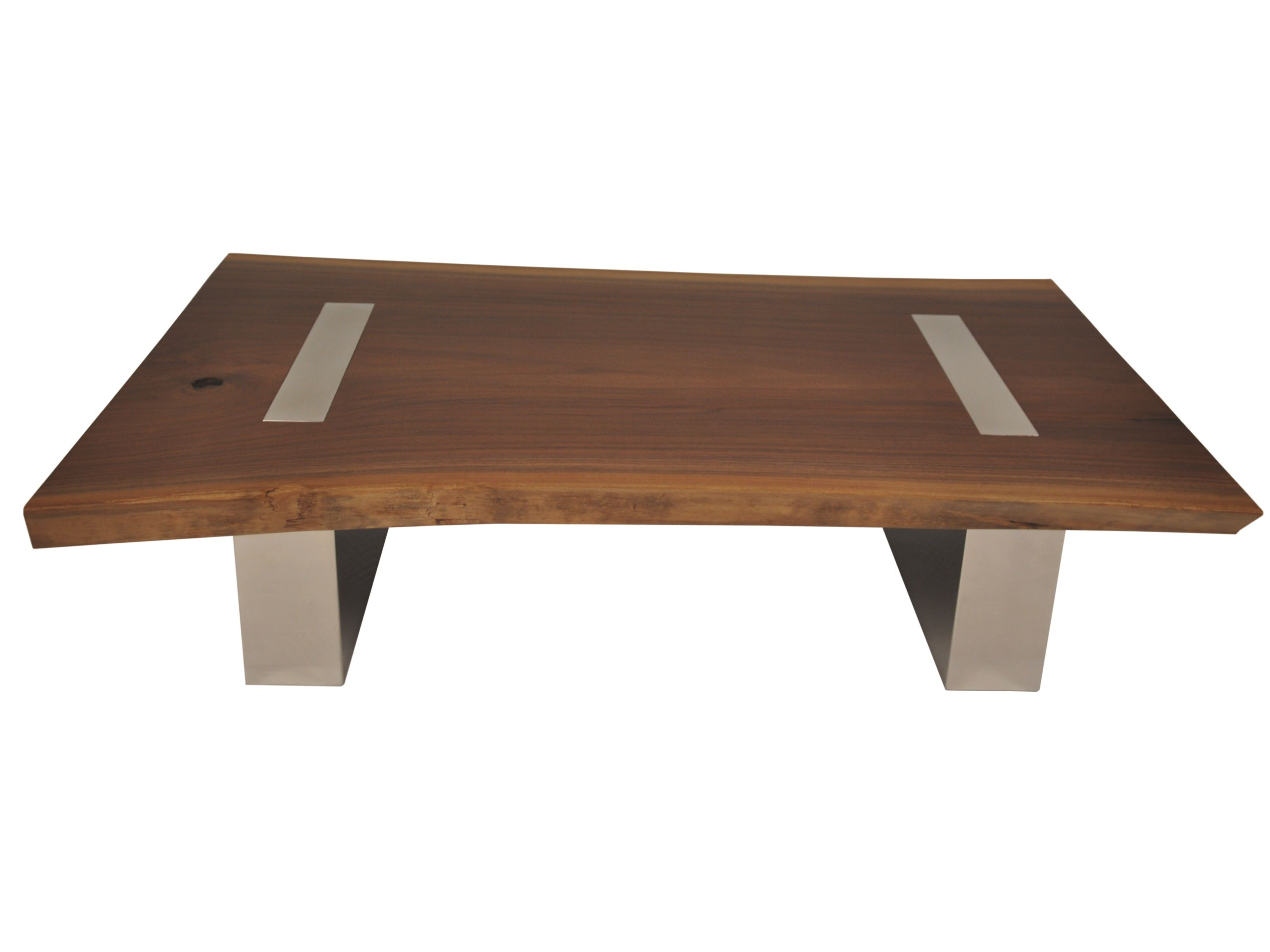 Solid Walnut Accent Table Top In Reclaimed Wood And Base Polished Stainless Steel Or