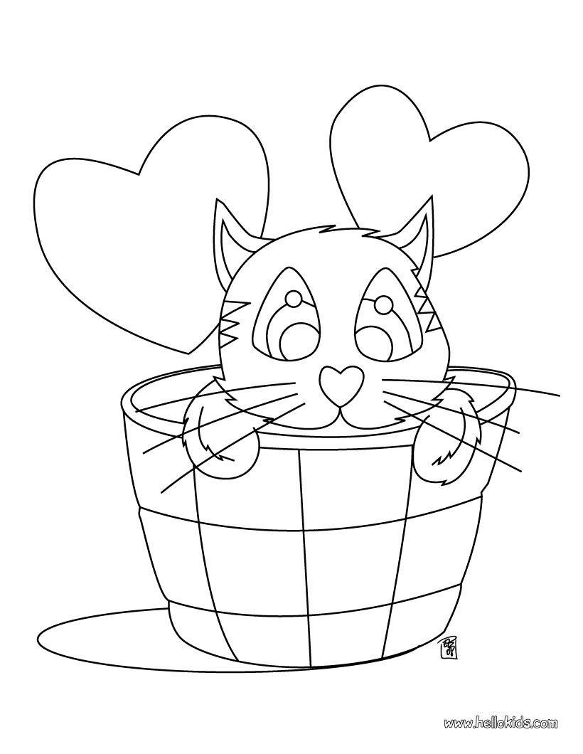 Cute cat in love coloring page. Enjoy coloring this cute Cat ...