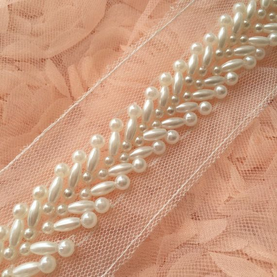 Ivory Beaded Lace Trim Pearl Beaded Trim 1 Yard For