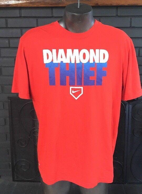 ebd541b9 Nike Baseball Diamond Thief Dri-Fit Orange Tee Shirt Men's Size XL #Nike  #GraphicTee