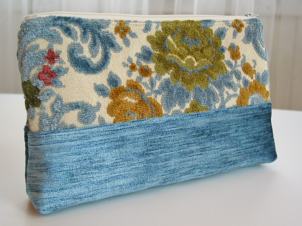 Vintage Cut Velvet Fabric Clutch Cosmetic Bags Fabric