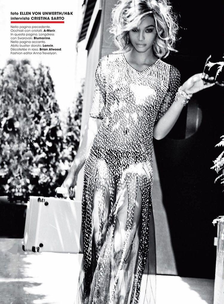Chanel Iman Goes Blonde for Ellen Von Unwerth in Glamour Italia Shoot