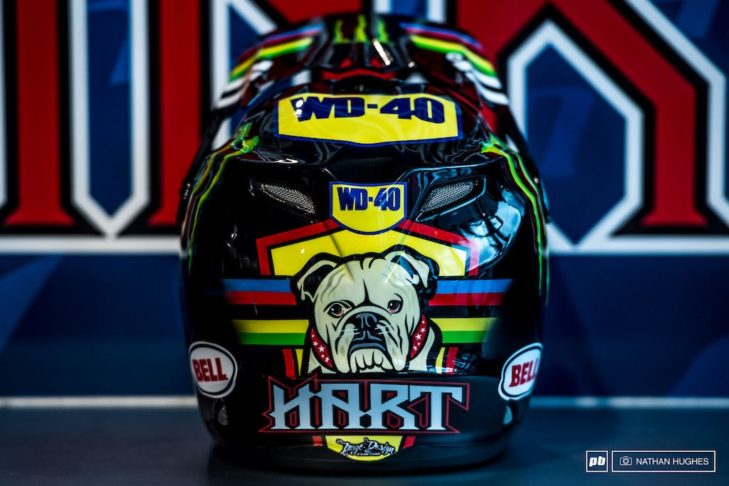 The World Champion s lid featuring the one and only Ruby the bulldog.