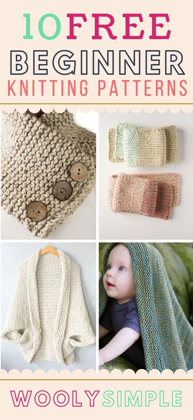 Photo of 10 Free Beginner Knitting Patterns for Absolute Beginners. 10 Easy Patterns for …
