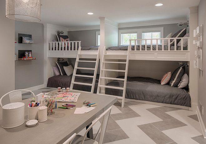 basement bunk room and craft room area chevron flooring
