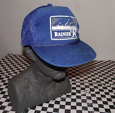 VINTAGE-RAINIER-BEER-CORDUROY-SNAP-BACK-TRUCKER-HAT-MADE-IN-THE-USA ... f2e7a1e173a