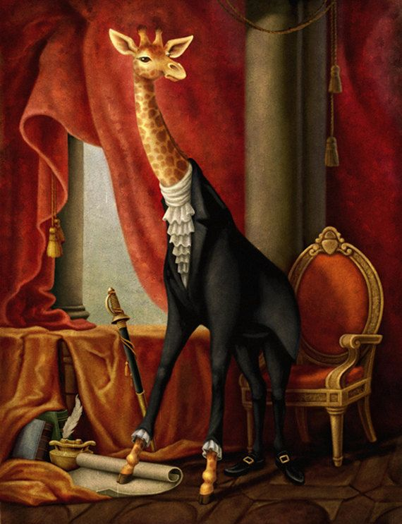 Sir Pongo Zarafa 8x10 Original Digital Art Print By Themaryn 15 00 Giraffe Painting Digital Art Prints Painting