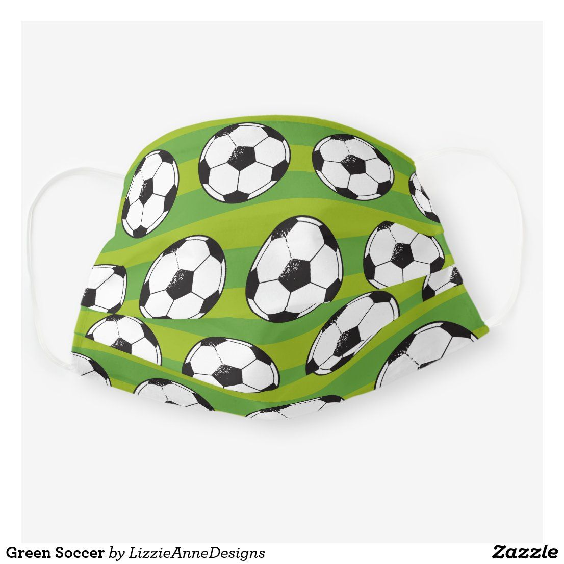 Green Soccer Cloth Face Mask Zazzle Com In 2020 Face Mask Masks Diy Kids Soccer Clothing And Equipment