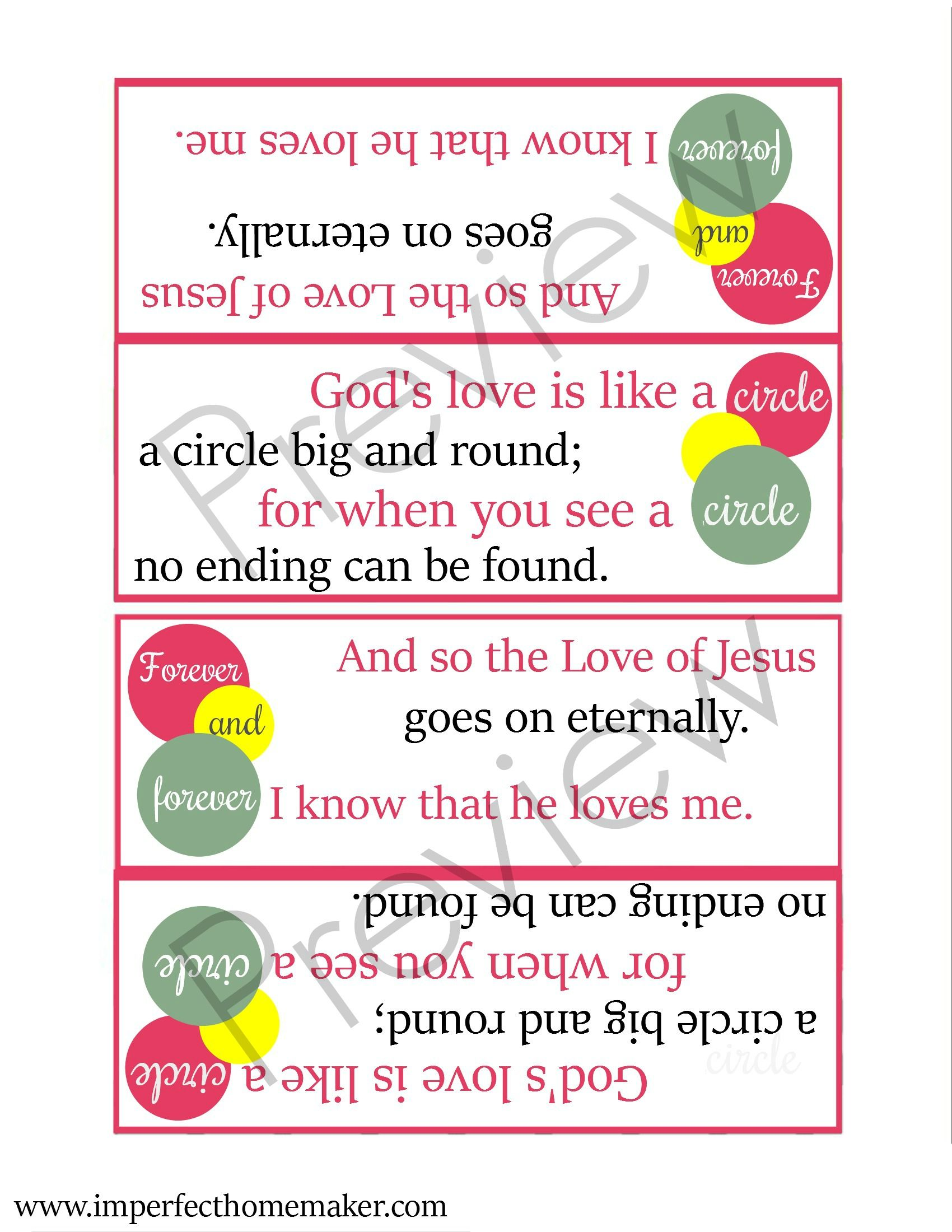 God S Love Is Like A Circle Free Printable Valentines For Christian Kids