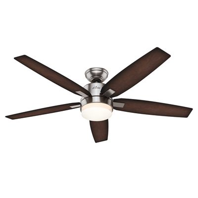 Hunter Windemere 52 In Brushed Nickel 5 Blade Ceiling Fan Remote Control Included Ceiling Fan Ceiling Fan With Remote Hunter Ceiling Fans