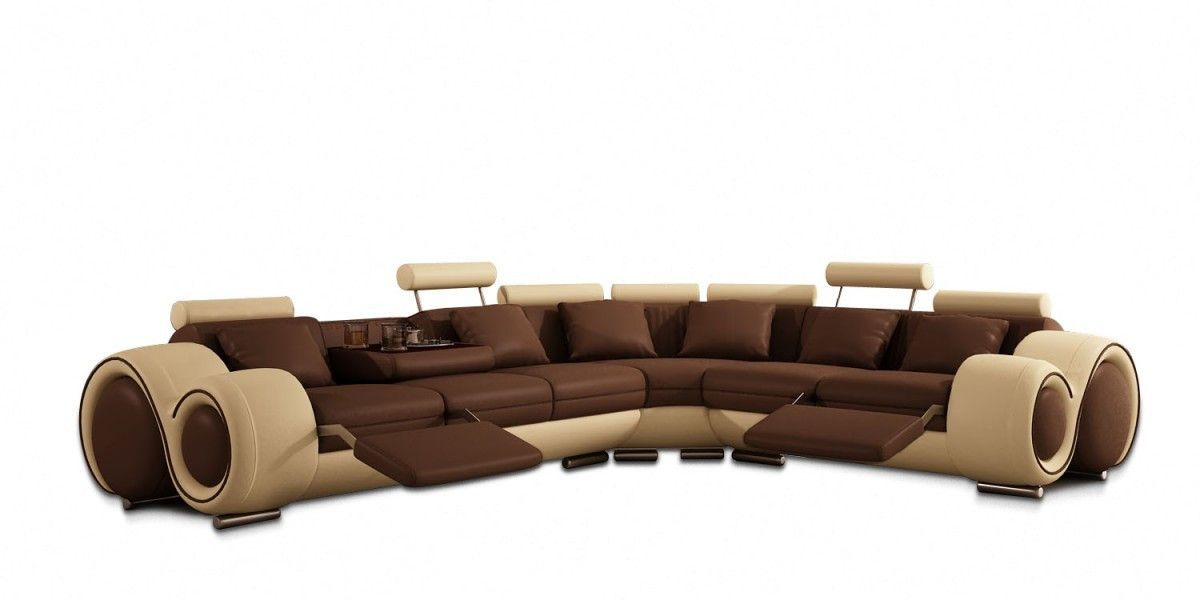 modern bonded leather sectional sofa with recliners corner bed storage dfs divani casa 4087 vgev4087 bl