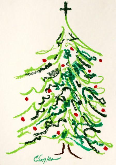 Carol Engles Art Christmas Tree Abstract Oil Pastel Drawing By Carol Engles Christmas Art For Kids Christmas Tree Drawing Oil Pastel Drawings