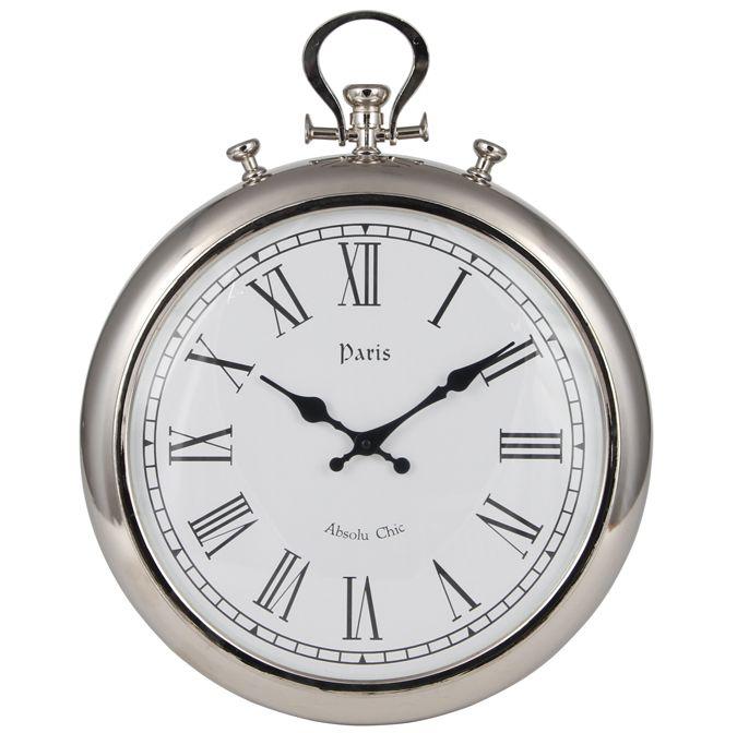 Beautiful Silver Stop Watch Statement Wall Clock Silver Wall