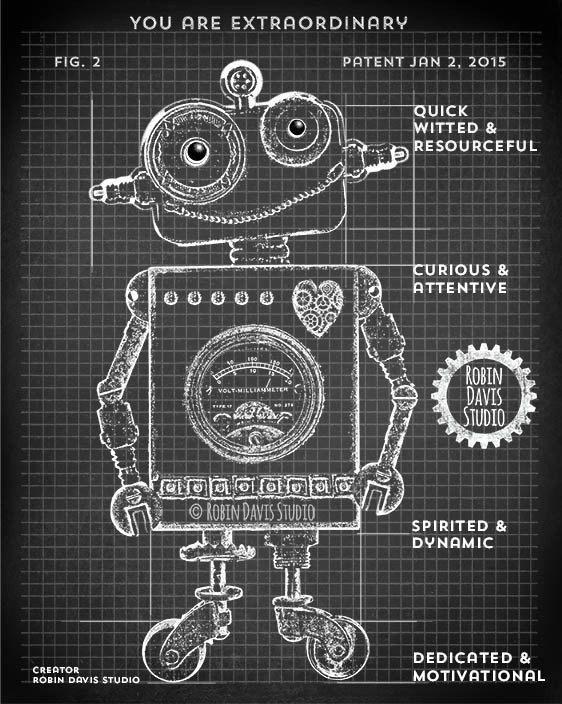 Dark Blue Robot Blueprint Robot 8X10 Art Print by moderngenes - new robot blueprint vector art