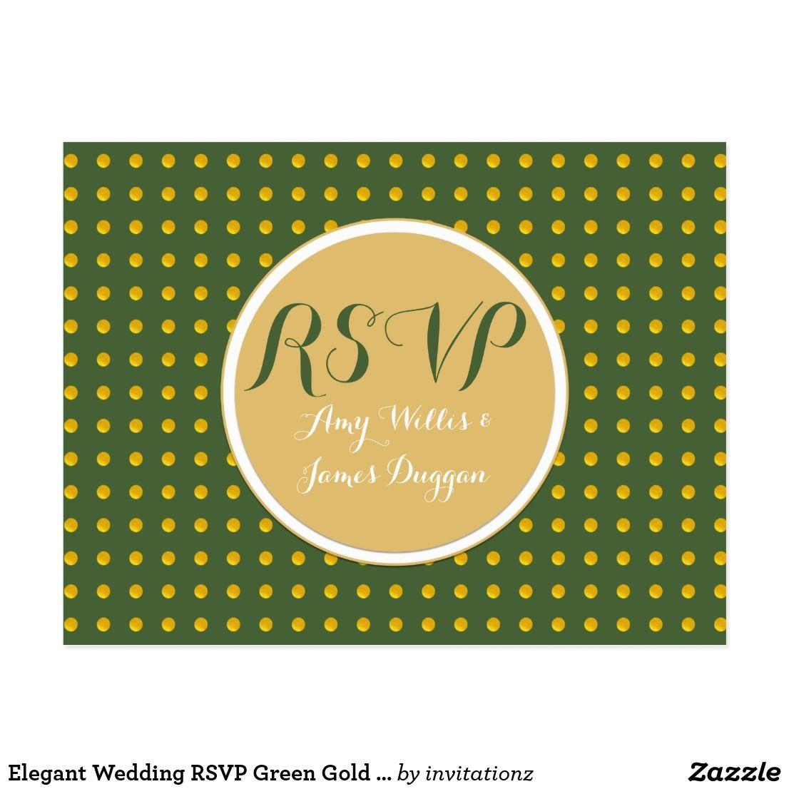 Wedding decorations to make february 2019 Elegant Wedding RSVP Green Gold Polkadots Menu Postcard  Trending
