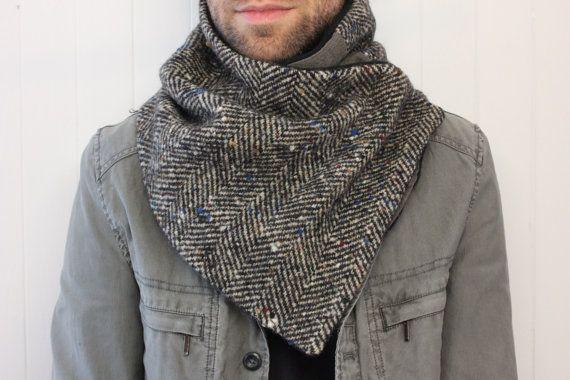 18766ce61ea3 homme écharpe- foulard hiver, foulard infini en laine, mens hiver écharpe  snood homme